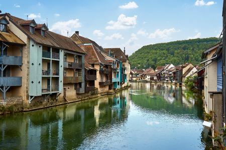 Ornans Cityscape Aside Loue River - Doubs - France  Stock Photo