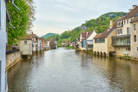 Ornans Cityscape Aside Loue River - Doubs - France