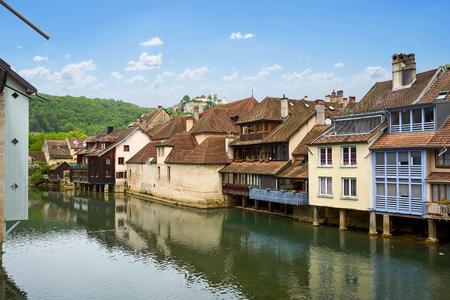 Ornans Cityscape Aside Rents River - Doubs - France
