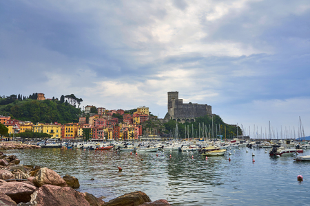 Lerici Liguria - Italy  May 2018 : Beautiful view of town Lerici on Ligurian coast of Italy in province of La Spezia. View from the sea in Castle of Lerici and port. Bright colored Italian houses on
