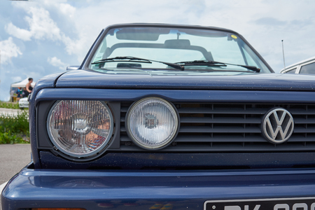 HoutaudFranche ComtéFranceJune 2018 : 1980s Blue Volkswagen Golf Model 2 Convertible Parks At Old Cars Rallye