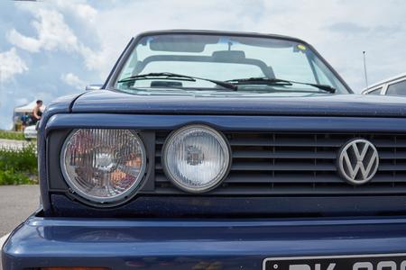 HoutaudFranche ComtéFranceJune 2018 : 1980s Blue Volkswagen Golf Model 2 Convertible Parks At Old Cars Rallye