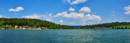 Panoramic View Of Port Titi A Little Hamlet Near Grangettes Doubs France, located on the left bank of Lake Saint Point, Port-Titi was built at the beginning of the last century by a group of fishermen friends
