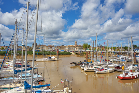 Cityscape of the picturesque town Pauillac View from Harbour Gironde France