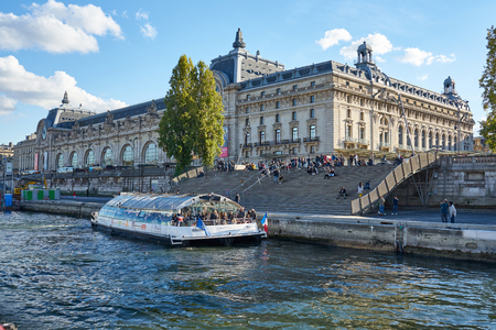 Paris / Ile de France / France / Novembre 2018 : Tourists Gather In Front Of Musée d'Orsay During A Warm Autumn Evening