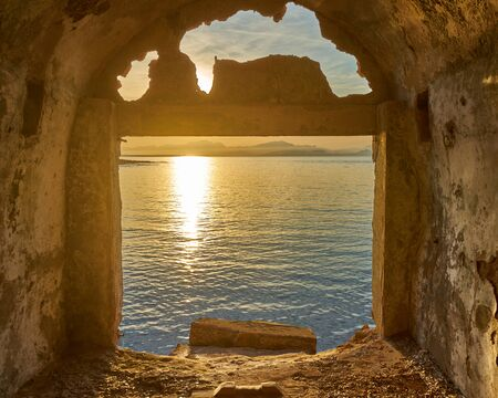 Seascape View From An Antique Boat Shelter At Cala de Platja Cala de Camps Vells Colonia de Sant Pere Mallorca Spain Imagens