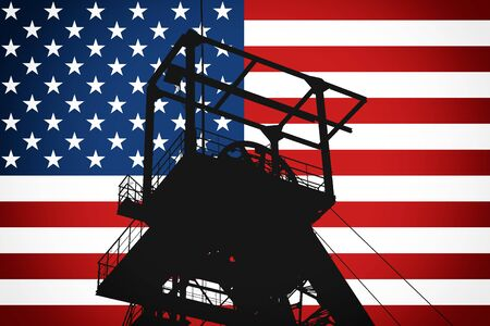 Concept Illustration With USA Flag in the Background And Coal Mine Ferris Wheel SIlhouette in the foreground. Symbole for the upcoming energy crisis