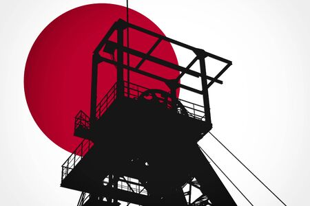 Concept Illustration With Japanese Flag in the Background And Coal Mine Ferris Wheel SIlhouette in the foreground. Symbole for the upcoming energy crisis