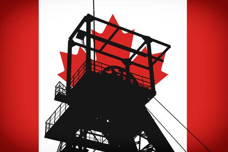 Concept Illustration With Canada Flag in the Background And Coal Mine Ferris Wheel SIlhouette in the foreground. Symbole for the upcoming energy crisis