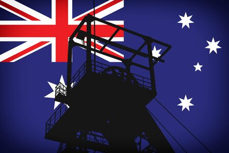 Concept Illustration With United Kingdom Flag in the Background And Coal Mine Ferris Wheel SIlhouette in the foreground. Symbole for the upcoming energy crisis