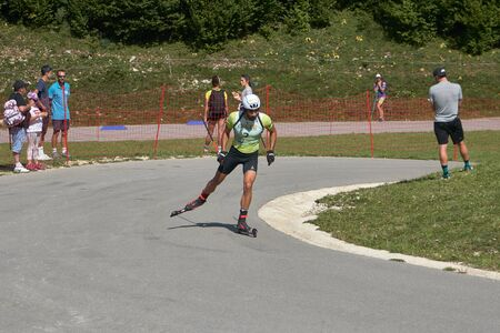 Premanon Stade Des Tuffes - Bourgogne Franche Comté France - September 2019 - Martin Fourcade Skate Towards The First Standing Shooting Of The Race. On This Event, Hes Been Disqualified For Not Wearing A Helmet During The Race