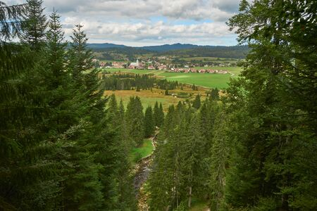Aerial View At Village Mouthe From View Point In The Pine Tree Forest - Mouthe Franche Comte France