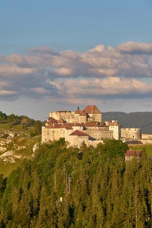 View Of Chateau de Joux At Sunset - La Cluse et Mijoux Doubs Franche Comté France