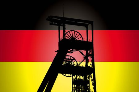 Concept Illustration With German Flag in the Background And Coal Mine Ferris Wheel SIlhouette in the foreground. Symbole for the upcoming energy crisis
