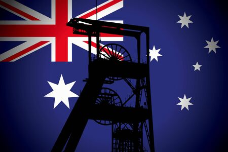 Concept Illustration With Australian Flag in the Background And Coal Mine Ferris Wheel SIlhouette in the foreground. Symbole for the upcoming energy crisis Фото со стока - 131416661