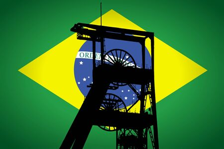 Concept Illustration With Brazilian Flag in the Background And Coal Mine Ferris Wheel SIlhouette in the foreground. Symbole for the upcoming energy crisis Фото со стока - 131415651