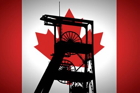 Concept Illustration With Canadian Flag in the Background And Coal Mine Ferris Wheel SIlhouette in the foreground. Symbole for the upcoming energy crisis Banco de Imagens