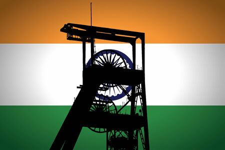 Concept Illustration With Indian Flag in the Background And Coal Mine Ferris Wheel SIlhouette in the foreground. Symbole for the upcoming energy crisis