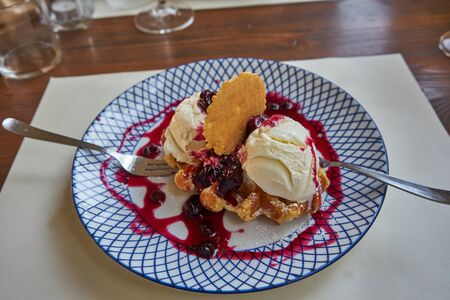 Vanilla Ice Cream Served On a Plate With Wild Berries Dressing And Wafers