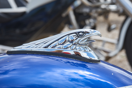 Pontarlier - Bourgogne Franche Comté France - June 16th 2019 - Eagle With Open Mouth Motorcycle Mudguard Decoration Sits ON a Parked Trike At Local Car Rallye. Редакционное