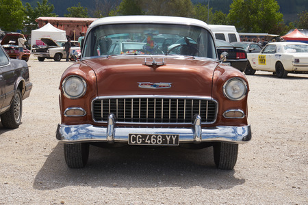 Pontarlier - Bourgogne Franche Comté France - June 16th 2019 - Brown Colored 1950s Chevrolet Bel Air II Parks At Local Car Rallye.
