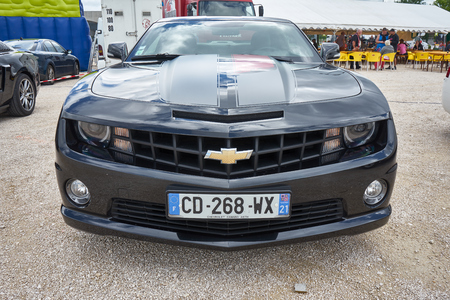 Pontarlier - Bourgogne Franche Comté France - June 16th 2019 - Recent Years Chevrolet Camaro Parks At A Local Car Rallye.