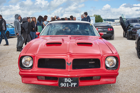 Pontarlier - Bourgogne Franche Comté France - June 16th 2019 - Red 1974 Pontiac Firebird Formula 350 Parks At Local Car Rallye.