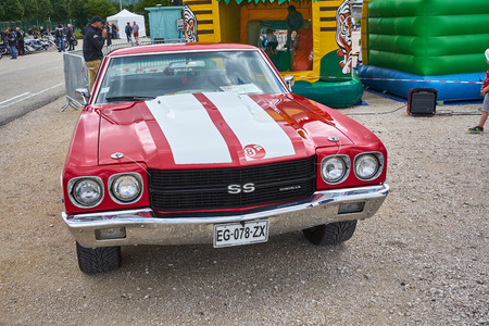 Pontarlier - Bourgogne Franche Comté France - June 16th 2019 - Red 1968 Chevelle SS Parks At A Local Car Rallye.