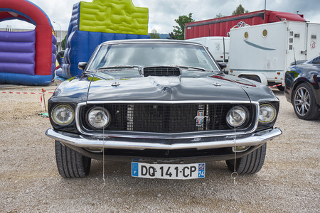 Pontarlier - Bourgogne Franche Comté France - June 16th 2019 - Black Ford Mustang 351 Mach 1 Parks At A Local Car Rallye.