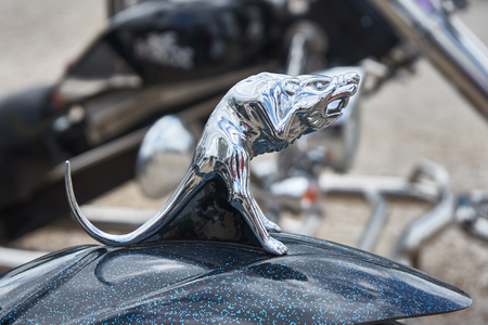 Pontarlier - Bourgogne Franche Comté France - June 16th 2019 - Rat With Open Mouth Motorcycle Mudguard Decoration Sits ON a Parked Trike At Local Car Rallye.