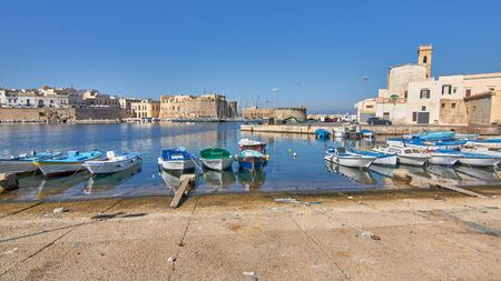Panoramic View Of Gallipoli Harbour And Medieval Castle During a Sunny And Hot Autumn Day