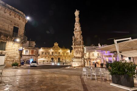City Hall And And Empty Piazza De La Liberta (Main Square) Shot During The Night At Ostuni Puglia Italy.