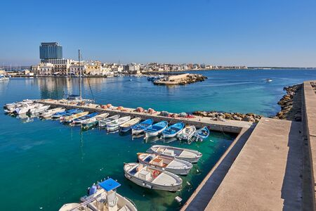 Panoramic View Of Gallipoli Harbour And Modern District Shore During a Sunny And Hot Autumn Day