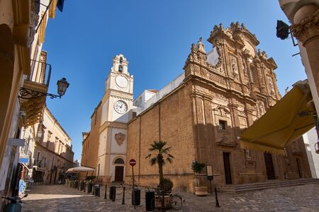 SantAgata Cathedral During A Bright Sunny Day in Gallipoli, Salento, Apulia, Italy