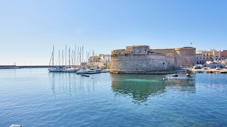 View At Il Rivellino Fortress And Gallipoli Castle Around Old Harbour Gallipoli Puglia Italy
