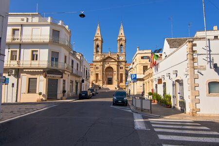Basilica of Saint Cosmos and Damian And Surrounding Streets At Alberobello Apulia Italy