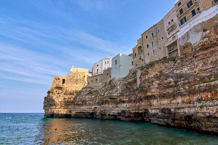 View At Ancient Medieval City From Lido Cala Paura Beach At Polignano A Mare Apulia - Italy Stock Photo