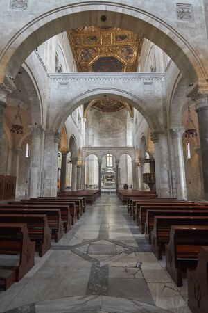 Inside View Of Basilica of Saint Nicolas Also Known As Basilica San Nicola de Bari At Bari Apulia Puglia Italy