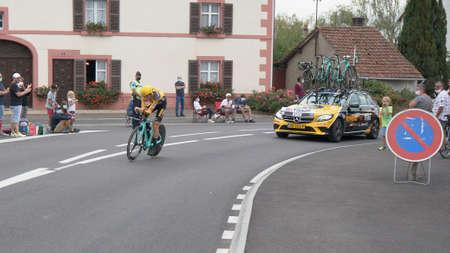 Saint Germain - Bourgogne Franche Comte - France - September 19, 2020 : Sepp Kuss - Team Jumbo – Visma places 15th overall after the last stage during the Tour de France 2020, cycling race stage 20, Lure - La Planche des Belles Filles (36 km Timetrial) Sajtókép