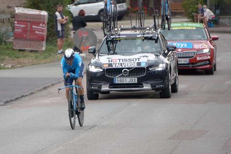Saint Germain - Bourgogne Franche Comte - France - September 19, 2020 : Alejandro Valverde - Team Movistar places 12th overall after the last stage during the Tour de France 2020, cycling race stage 20, Lure - La Planche des Belles Filles (36 km Timetrial Sajtókép