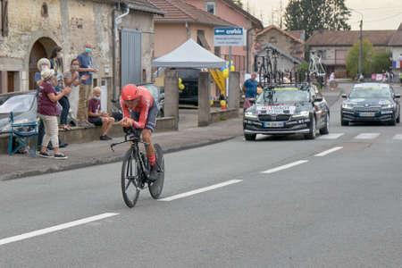 Saint Germain - Bourgogne Franche Comte - France - September 19, 2020 : Warren Barguil - Team Arkea Samsic places 14th overall after the last stage during the Tour de France 2020, cycling race stage 20, Lure - La Planche des Belles Filles (36 km Timetrial