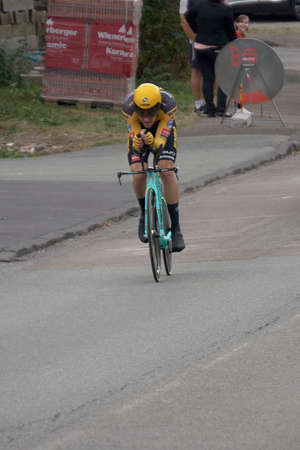 Saint Germain - Bourgogne Franche Comte - France - September 19, 2020 : Tom Dumoulin - Team Jumbo Visma places 7th overall after the last stage during the Tour de France 2020, cycling race stage 20, Lure - La Planche des Belles Filles (36 km Timetrial)