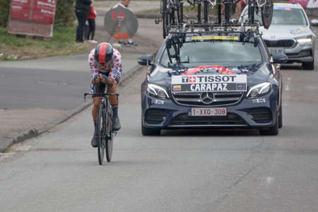 Saint Germain - Bourgogne Franche Comte - France - September 19, 2020 : Richard Carapaz - Team Ineos Grenadiers places 13th overall after the last stage during the Tour de France 2020, cycling race stage 20, Lure - La Planche des Belles Filles (36 km Time