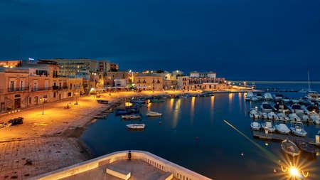 Old Harbor Of Bisceglie At Night Puglia Apulia Italy