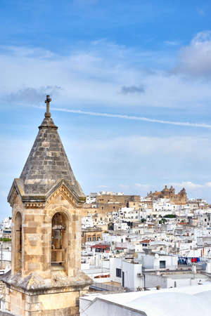 View of the old white town of Ostuni and the cathedral Stock fotó