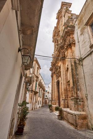 Typical street scene of the Historical Center of Martina Franca Stock fotó