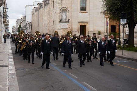 Martina Franca Apulia Italy November 2019: A procession parades through the streets during the ceremonies of November 1st on the occasion of All Saints' Day Sajtókép