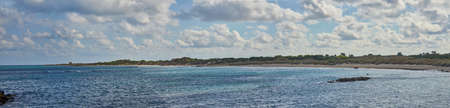 Panoramic View Of Torre Guaceto Beach Inside Torre Guaceto Marine Protected Area And Nature Reserve In Serranova Puglia Apulia Italy During a Bright Sunny day