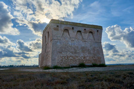 XVI Century Antique Defensive Tower Torre Guaceto At In The Middle Of A Natural Reserve Along The Coast Of Apulia Italy Stock fotó