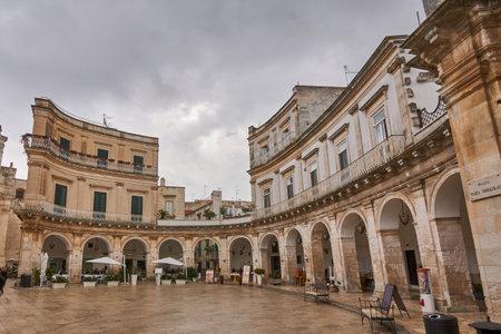 Piazza Plebiscito at Martina France, Point of interest in Apulia on a rainy day, Italy Puglia